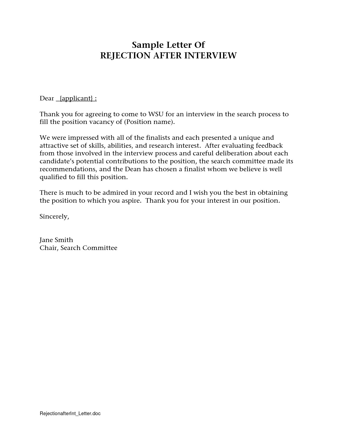 Rejection Letter Template after Interview - Free Cover Letter Templates Thank You Letter after Interview Email