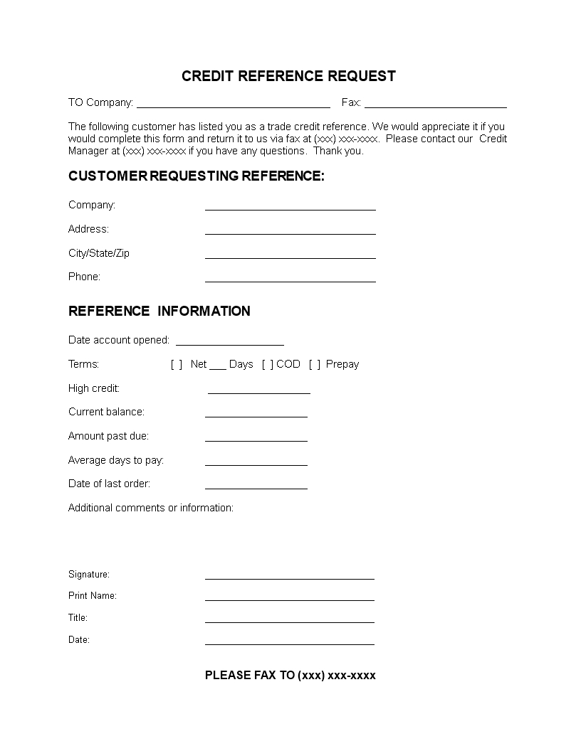 Customer Reference Letter Template - Free Customer Credit Reference Letter