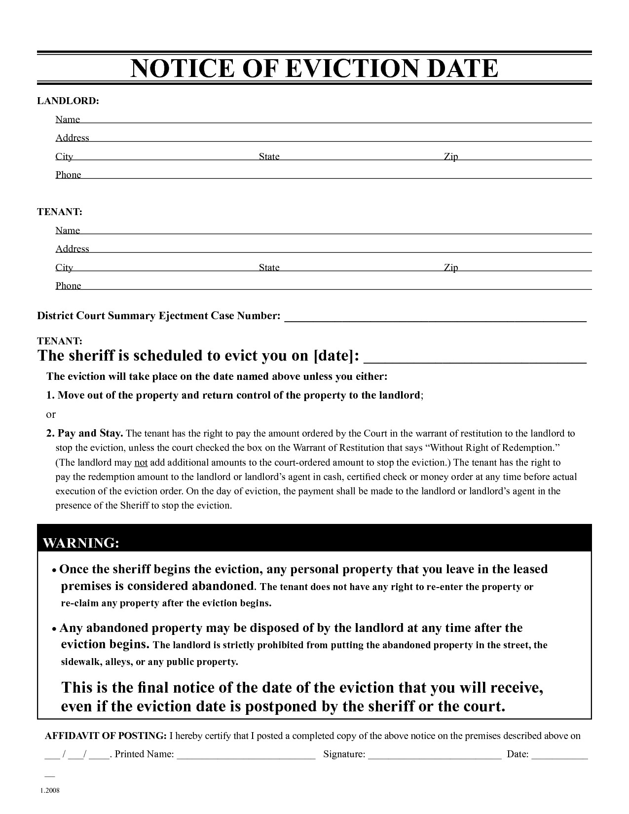 30 Day Eviction Letter Template - Free Eviction Notice form Beautiful 30 Day Move Out Notice Template