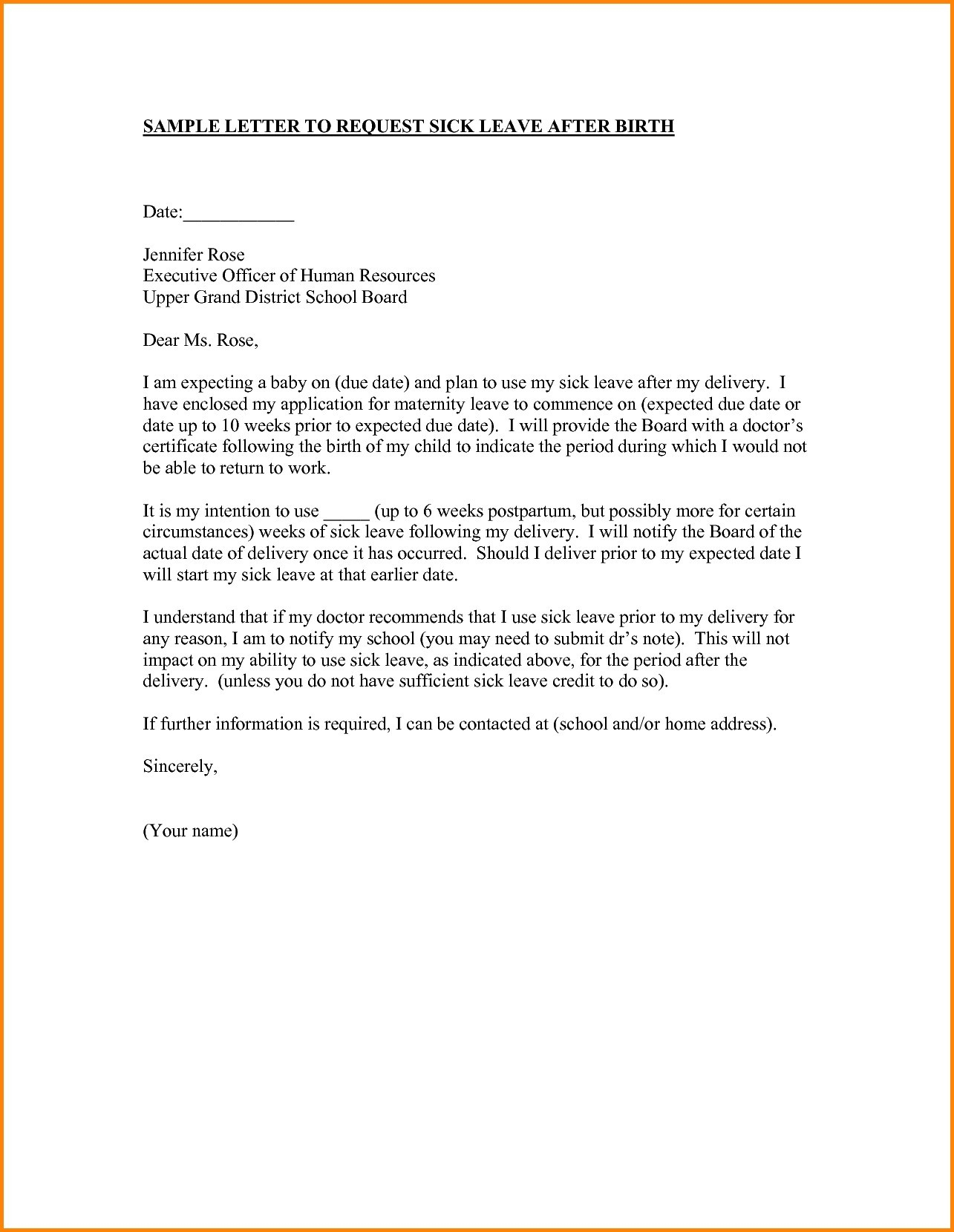 Maternity Return to Work Letter From Employer Template - Free Example Letter Letter Template Informing Employer Of
