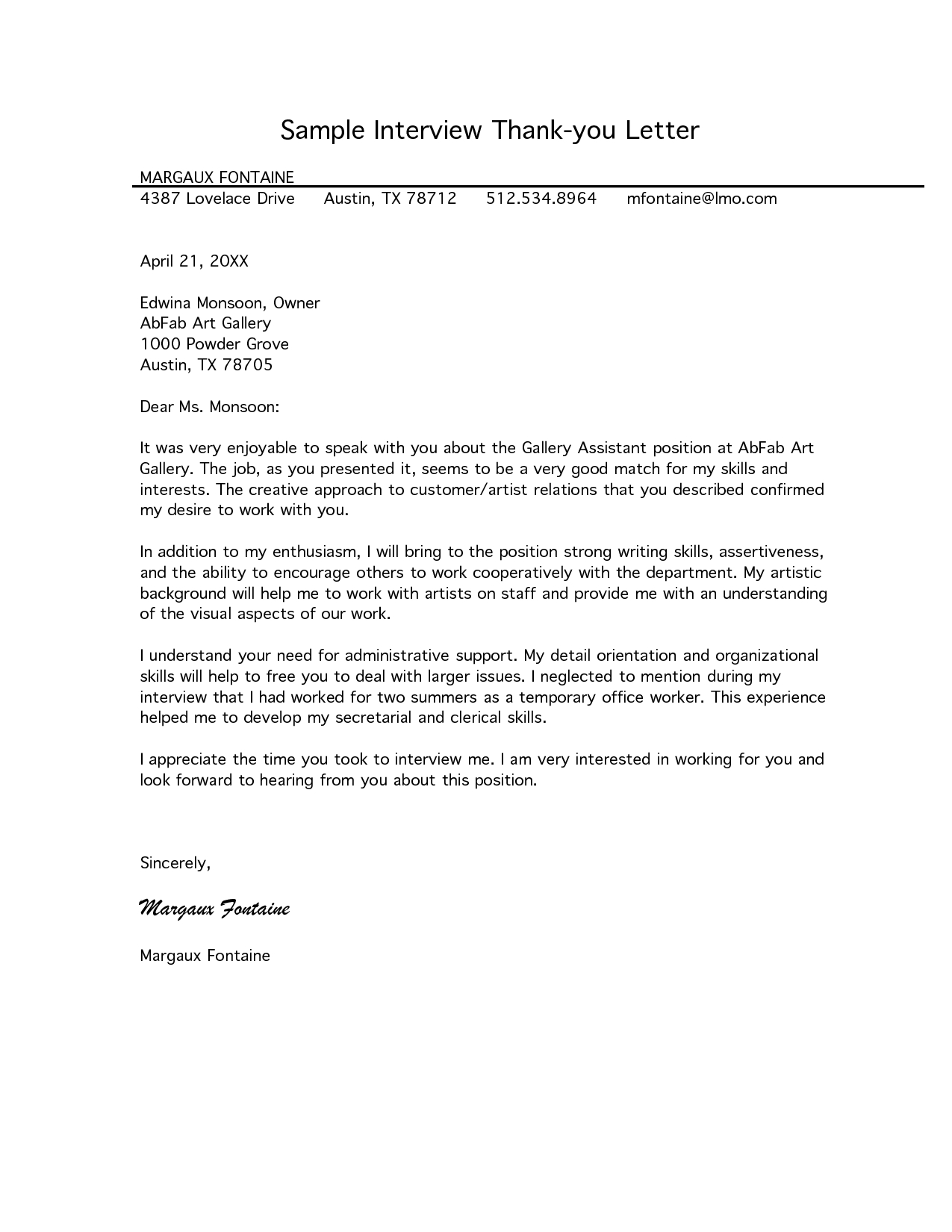 Interview Thank You Letter Template - Free Letter Of Interest Templates
