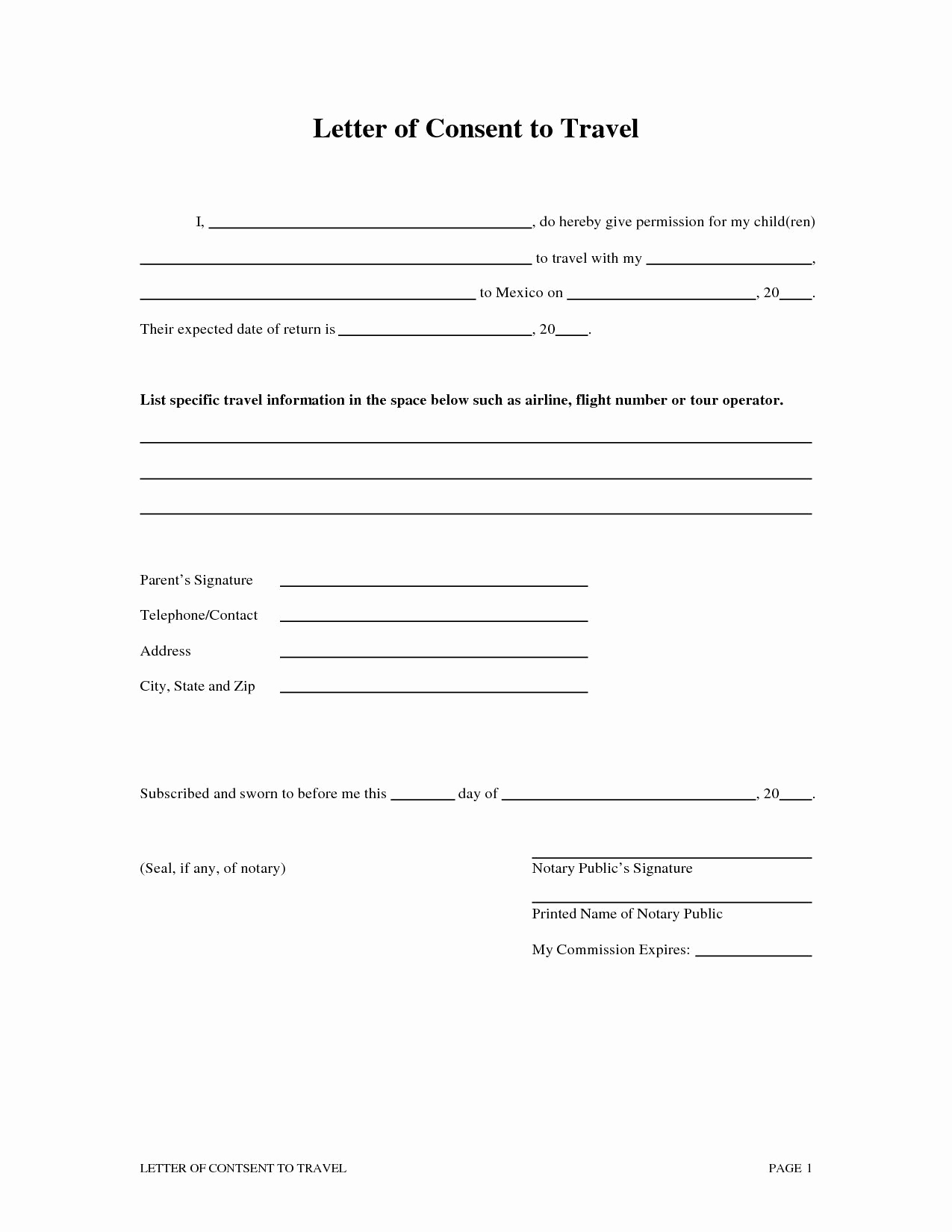 Travel Consent Letter Template - Free Medical Consent form Child Medical Consent form Authorization