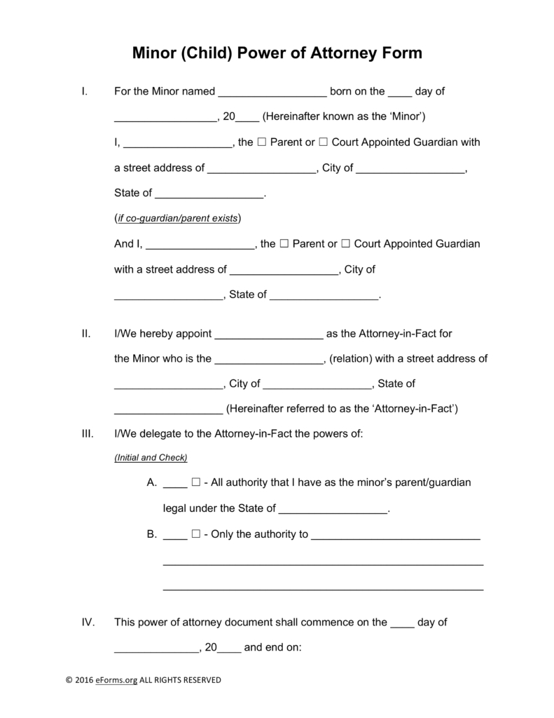 Power Of attorney Letter Template Free - Free Minor Child Power Of attorney forms Pdf Word