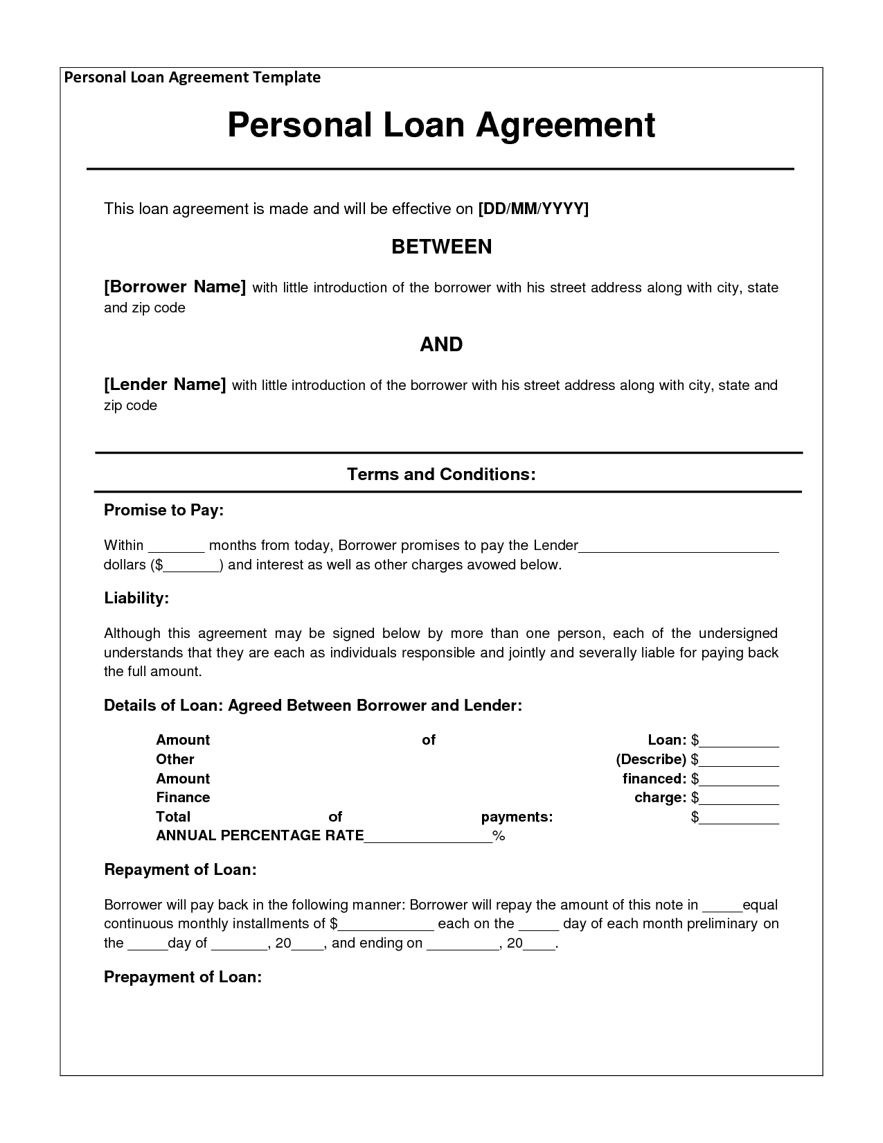Personal Loan Template Letter - Free Personal Loan Agreement form Template $1000 Approved In 2