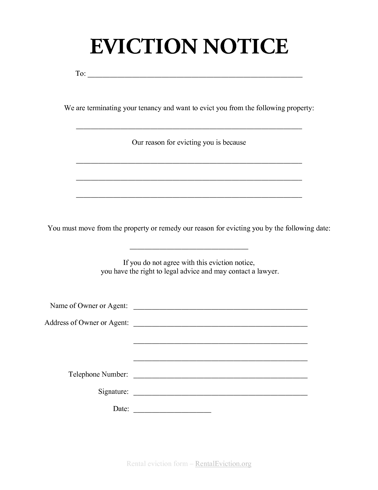 free tenant eviction letter template example-Free Print Out Eviction Notices 17-n