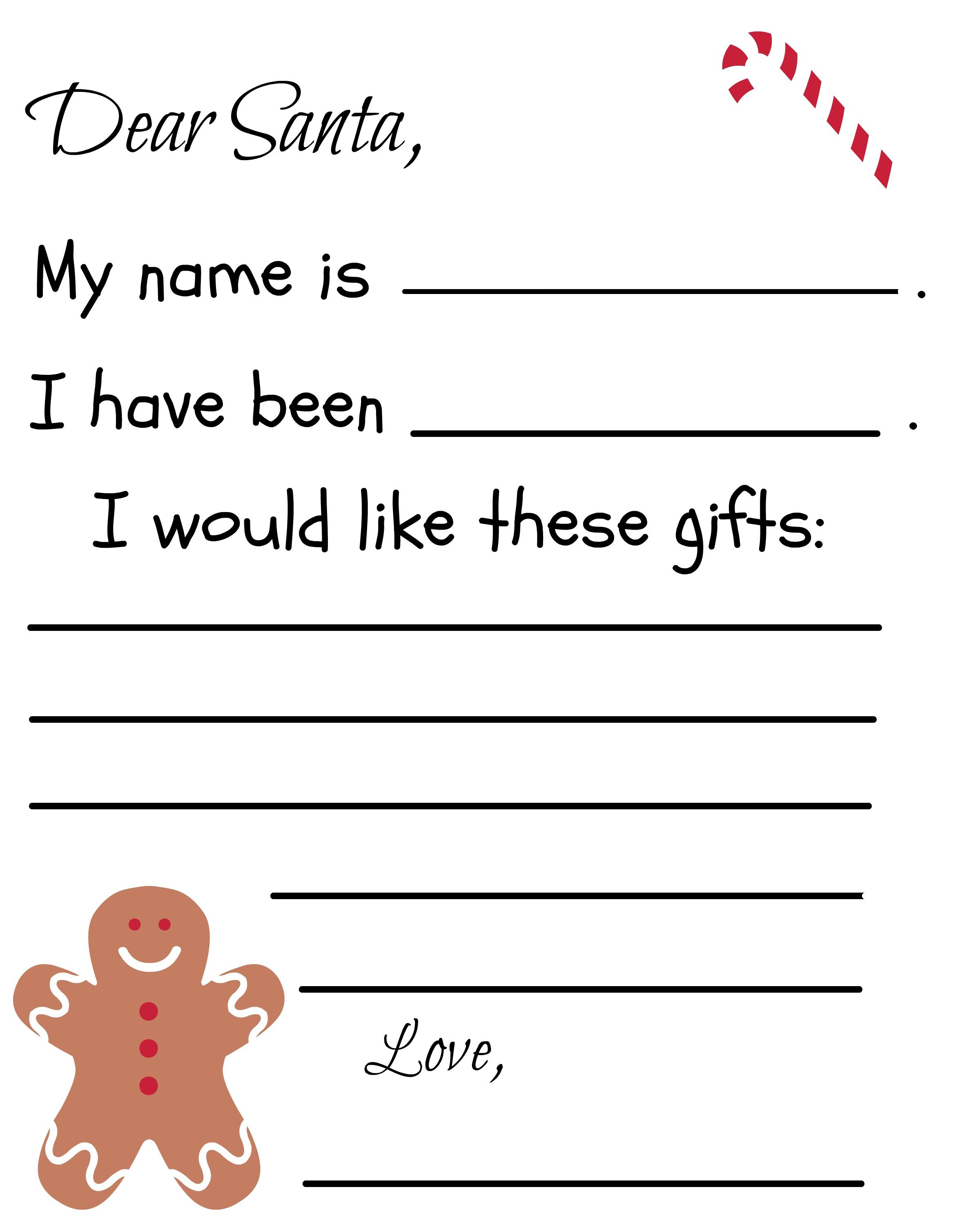 Free Letter to Santa Template Printable - Free Printable Santa Letter Template