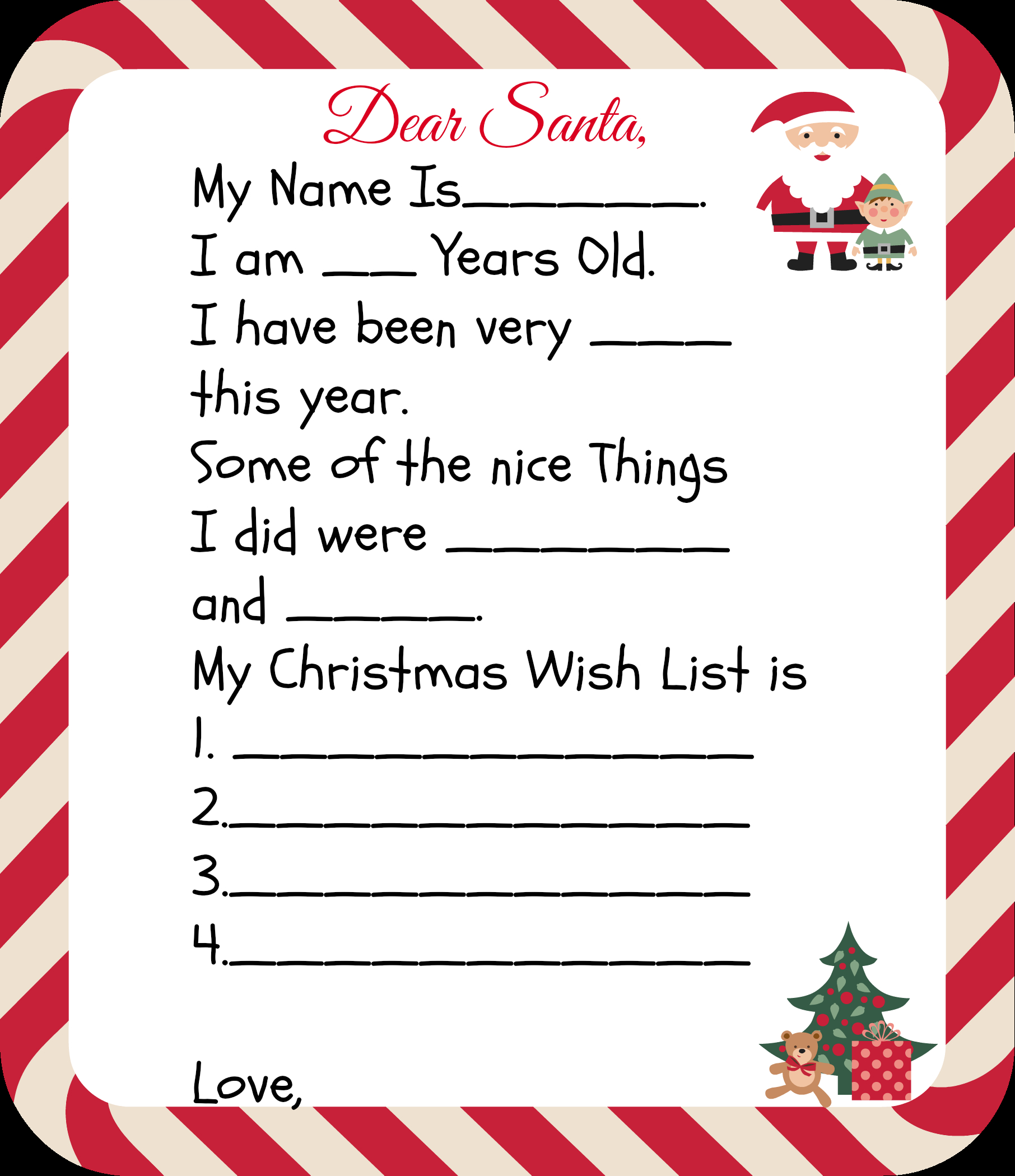 Free Letter to Santa Template Printable - Free Printable Santa Letters for Kids Pinterest