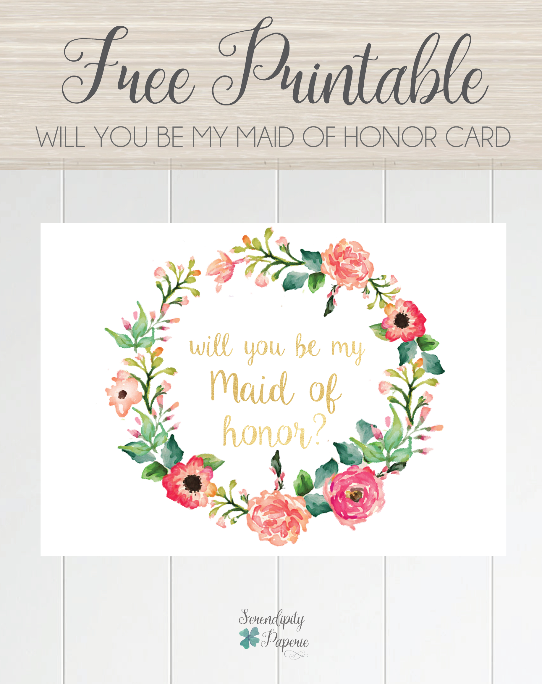 Will You Be My Bridesmaid Letter Template - Free Printable Will You Be My Maid Of Honor Card Floral Wreath