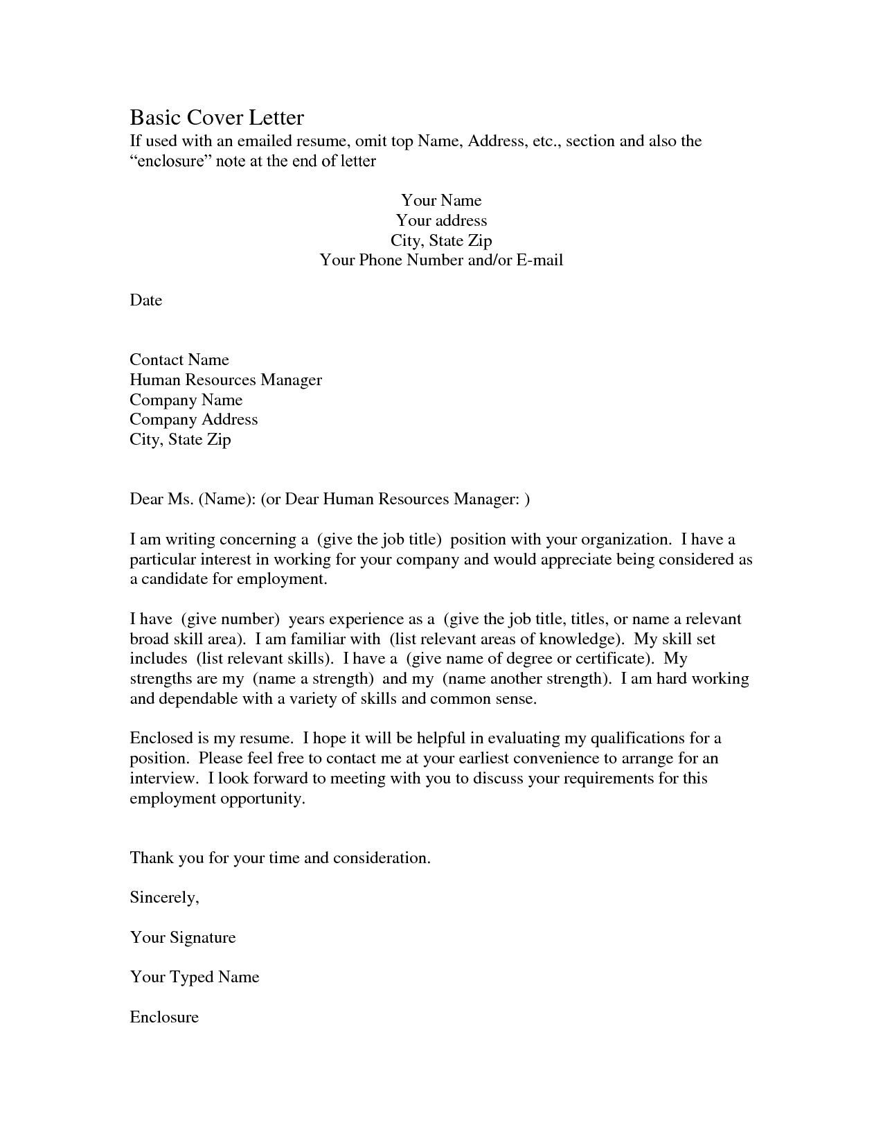 Cover Letter Template for Human Resources - Free Resume Cover Letter format S