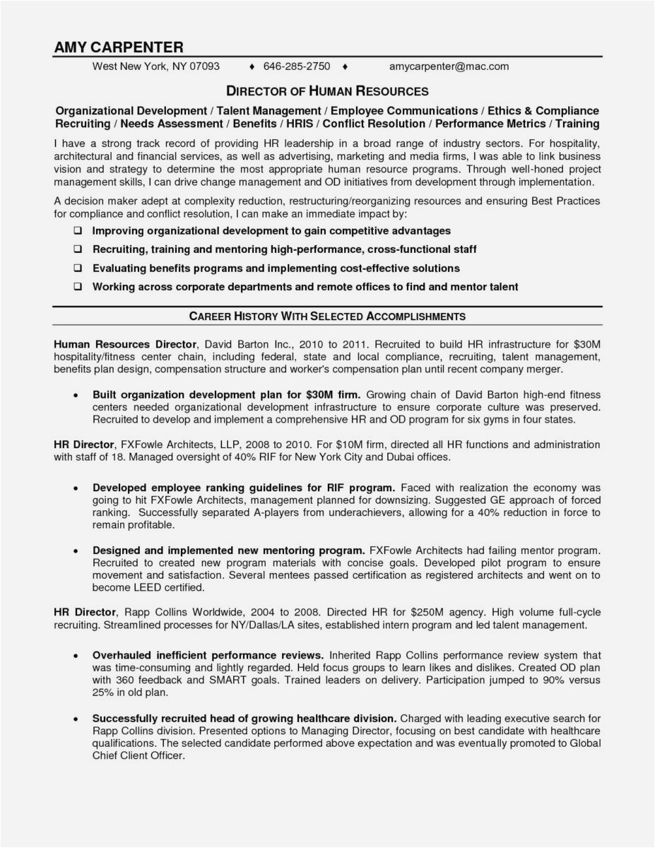 Hr Cover Letter Template - Free Resume Cover Letter Template format Lovely Curriculum Vitae