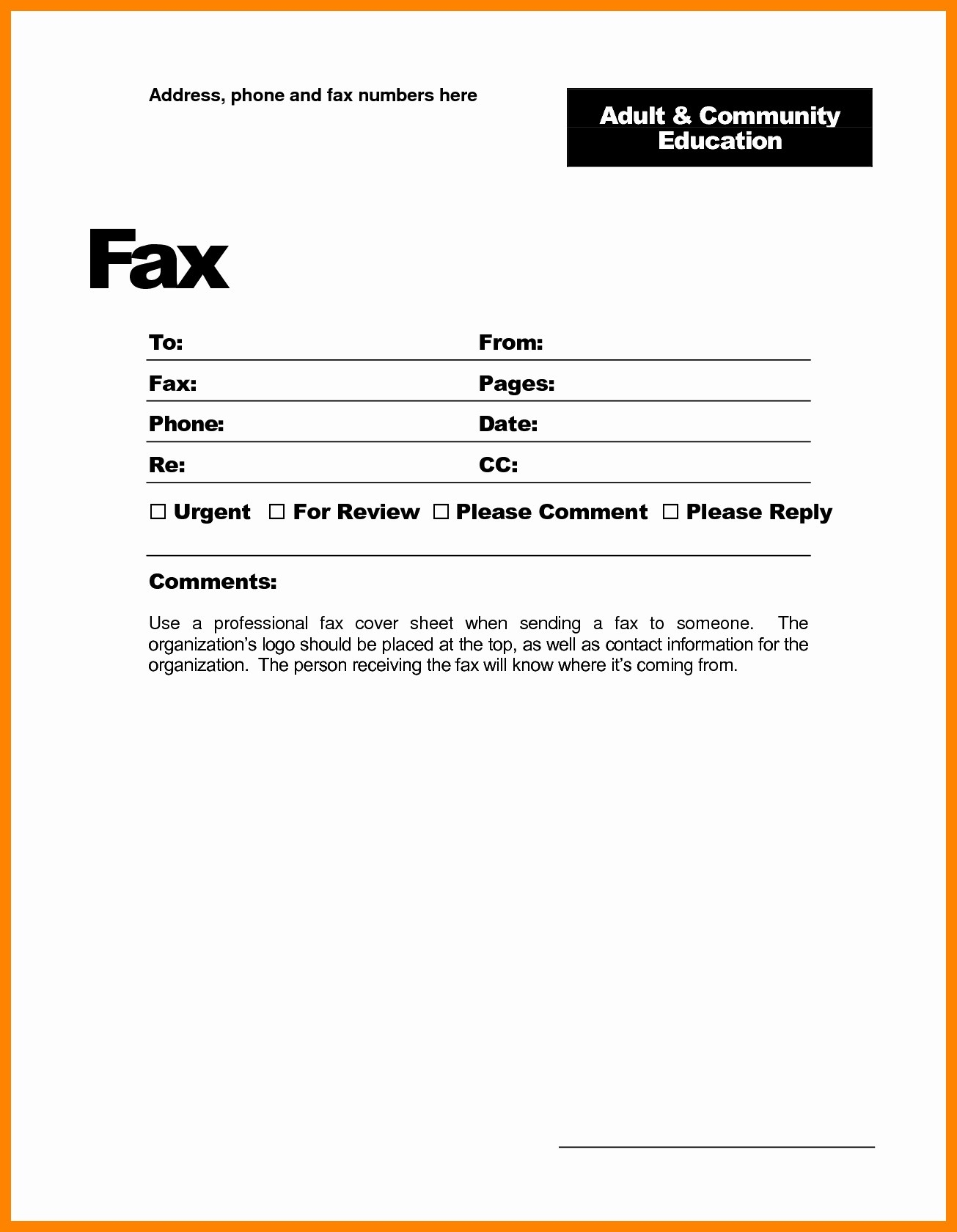 Fax Cover Letter Template Google Docs