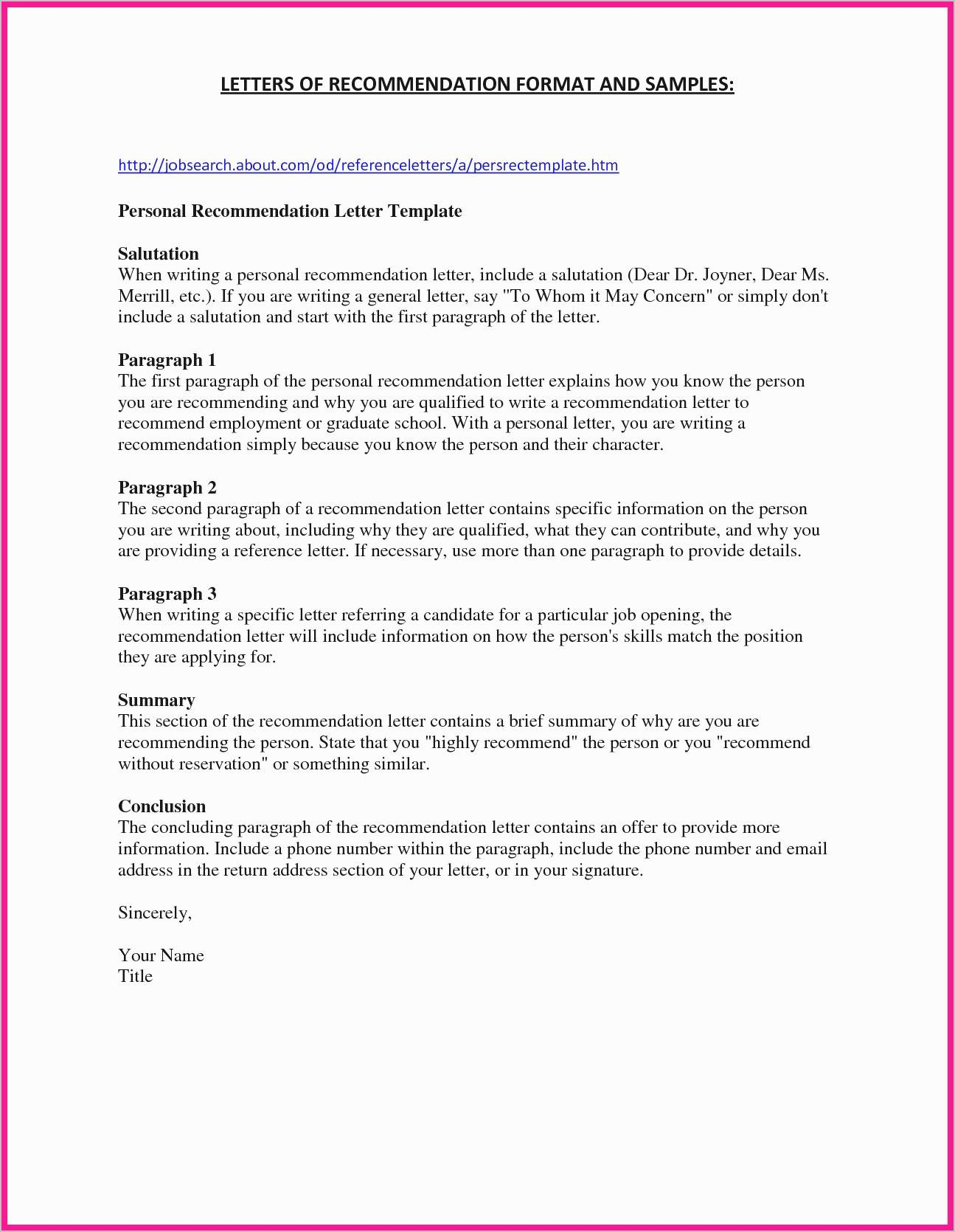 General Reference Letter Template - General Letter Re Mendation Template Recordplayerorchestra