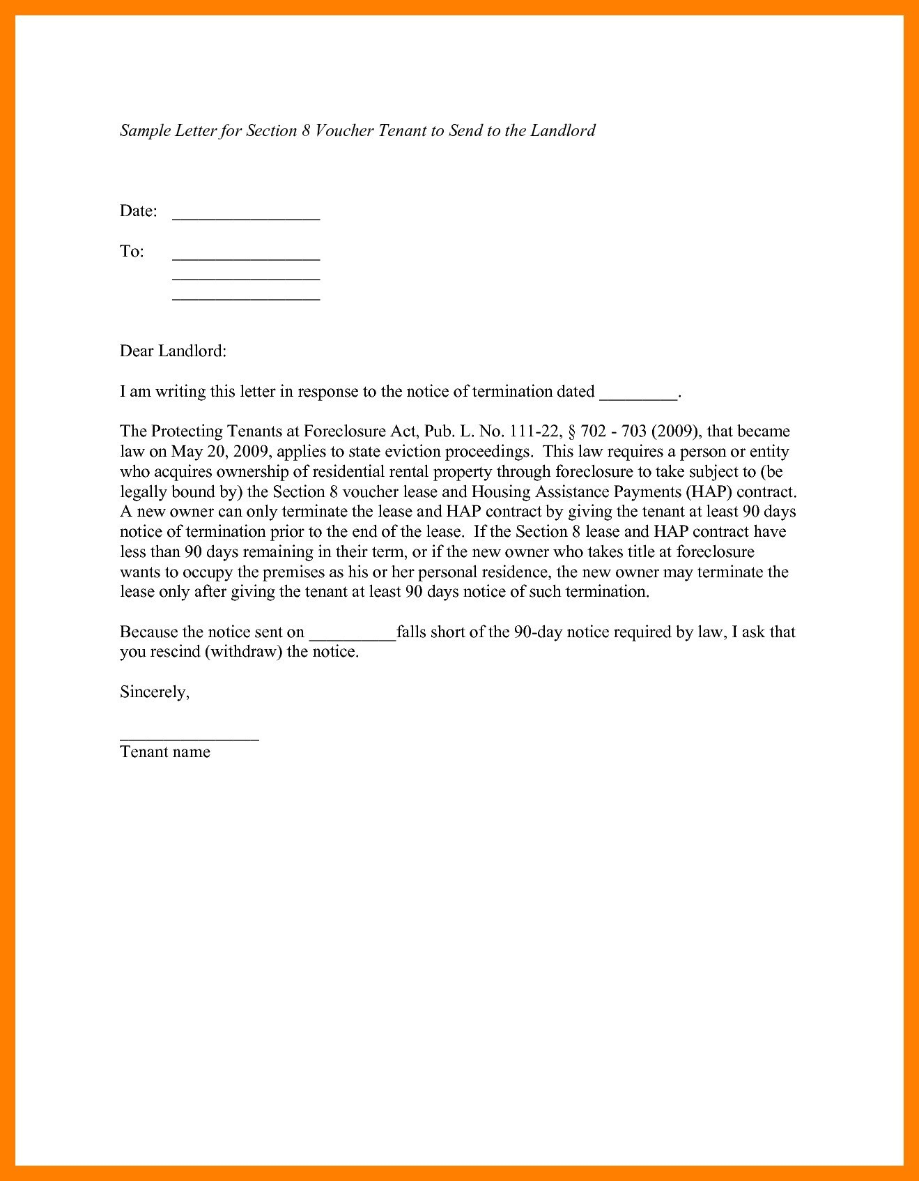 Notice Letter to Tenant From Landlord Template - Giving Notice to Landlord Template