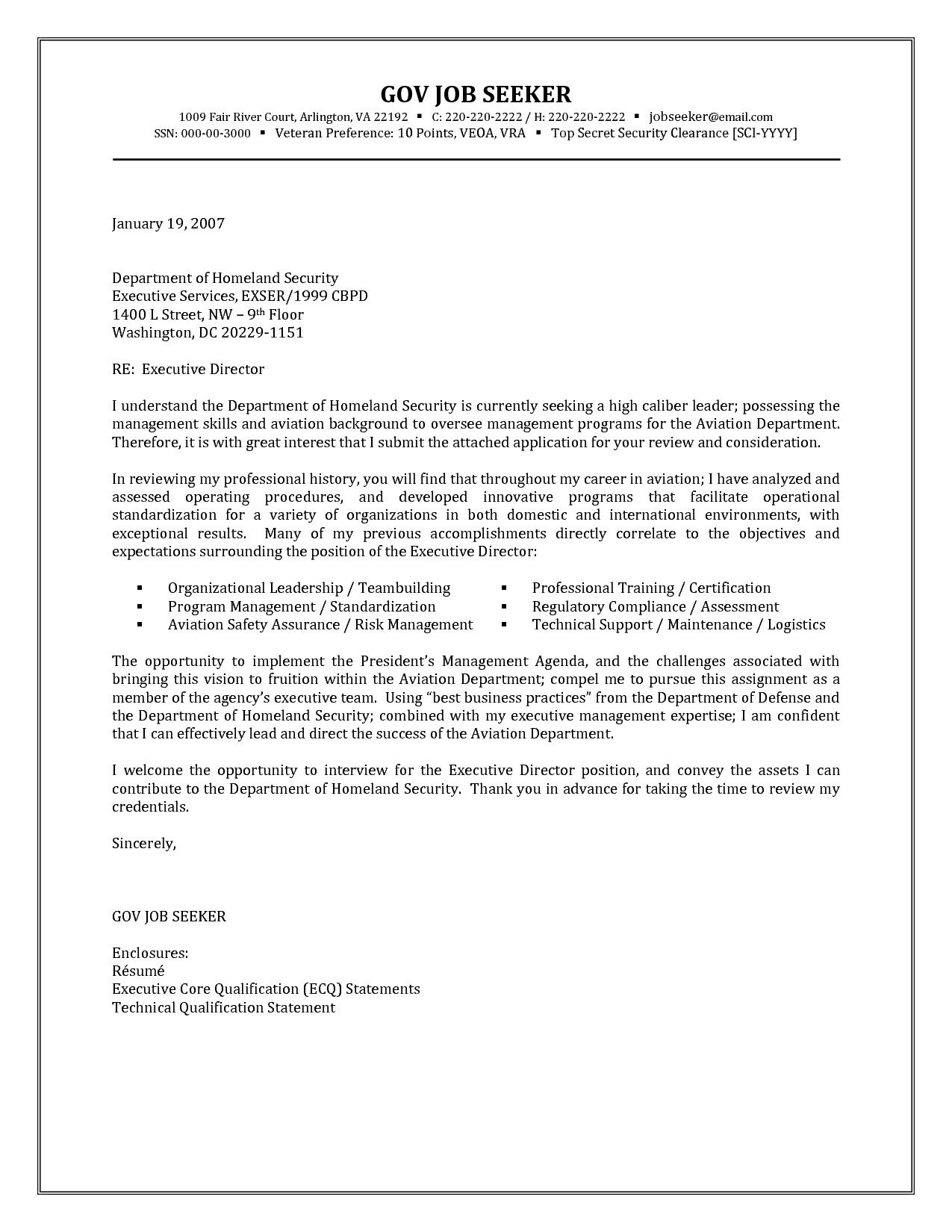 Government Job Cover Letter Template Examples | Letter Cover Templates