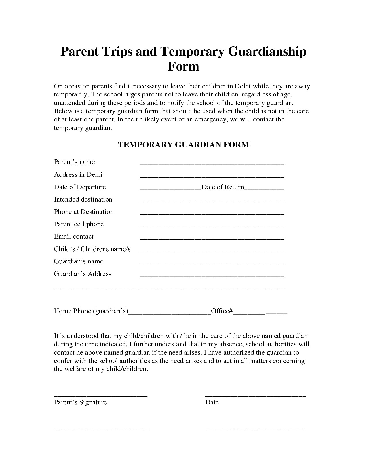 Free Temporary Guardianship Letter Template - Guardian form for Child Unique Conference Request Joselinohouse