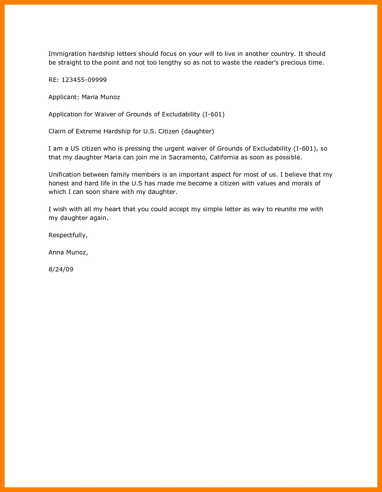 Immigration Hardship Letter Template - Hardship Immigration Letter