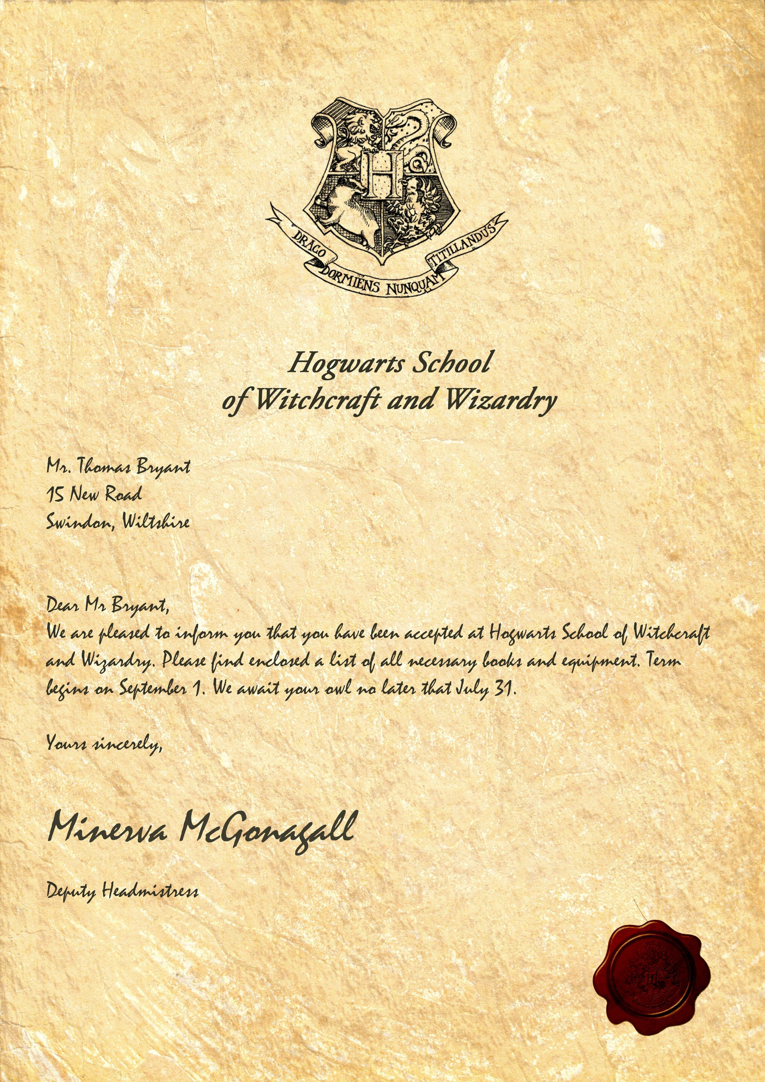 Harry potter invitation letter template samples letter cover templates harry potter invitation letter template maxwellsz