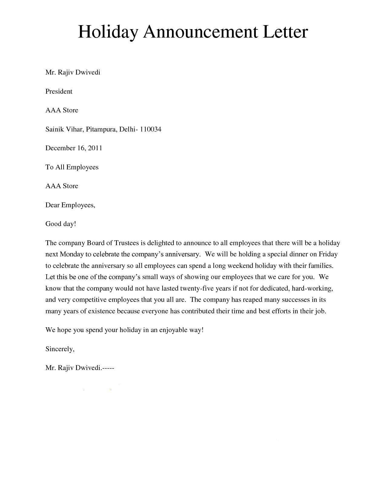 Free Holiday Letter Template - Holiday Announcement Letter Giving A Letter to Inform About the