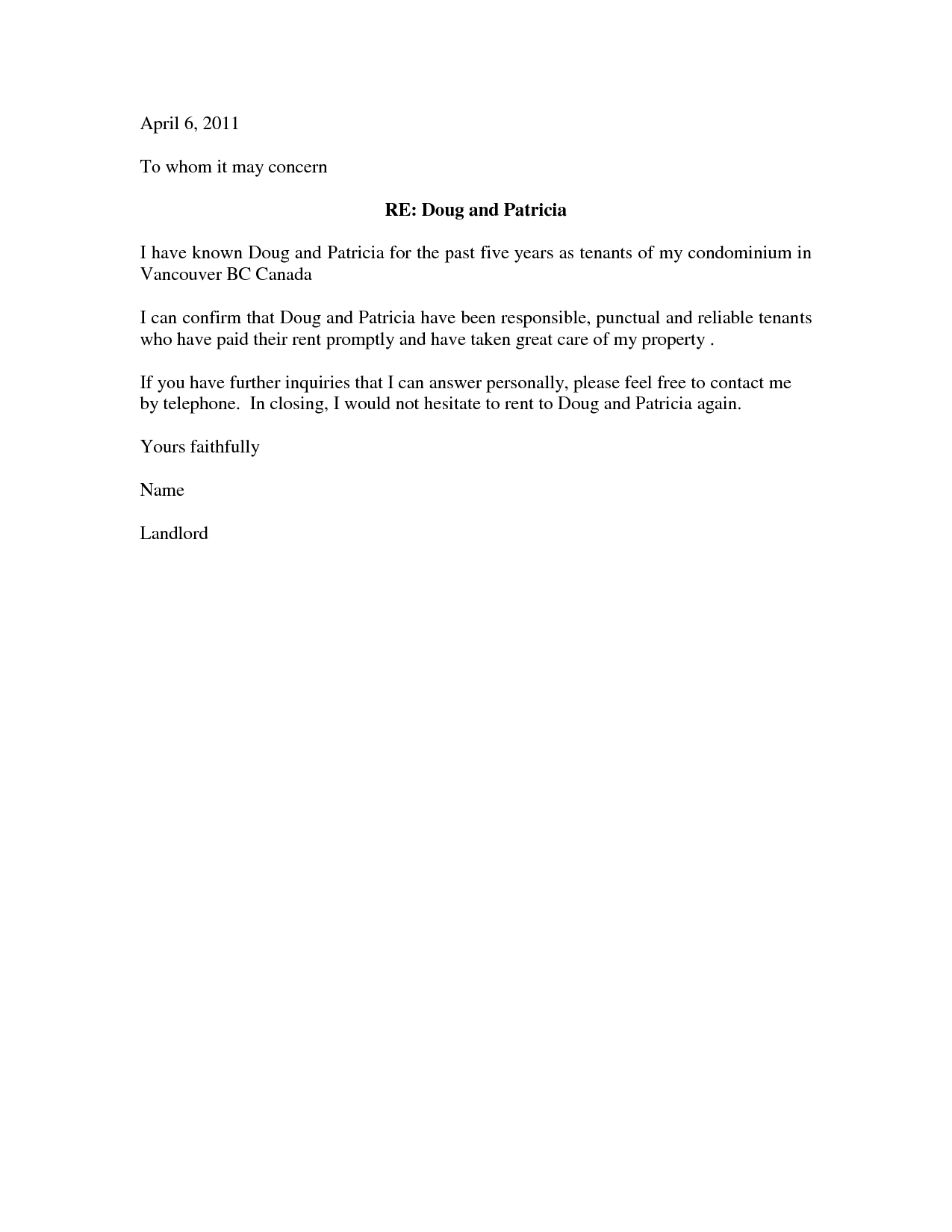 Free Rental Reference Letter Template - Housing Reference Letter Letter format formal Sample