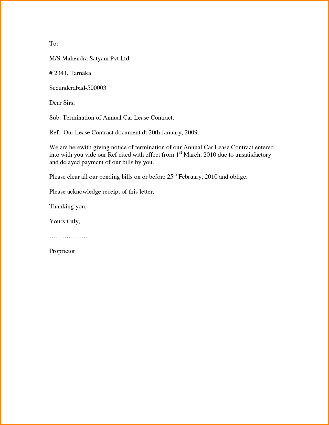 Contract Termination Letter Template Examples
