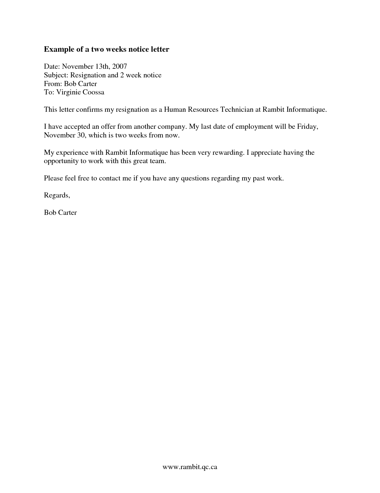 Letter Of Recommendation Template for Coworker - How to Find Examples Of Two Week Notice Recipes