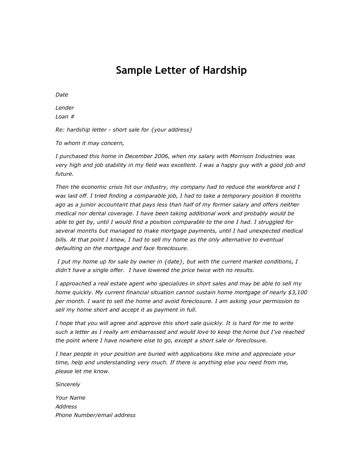 Financial Hardship Letter Template - How to Write A Hardship Letter for A Short Sale Letter