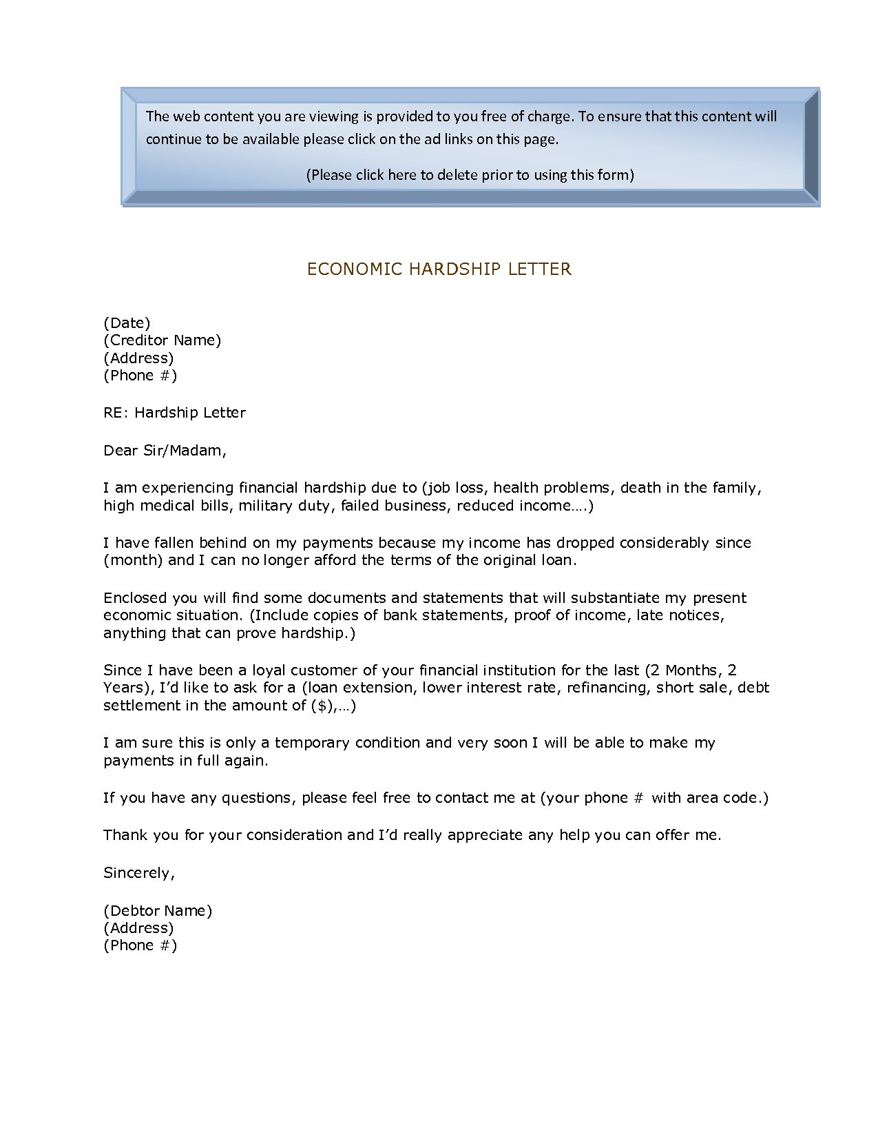 Mortgage Hardship Letter Template - How to Write A Hardship Letter