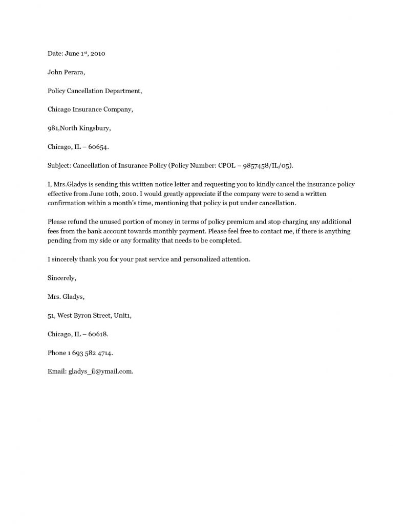 Insurance Policy Cancellation Letter Template - How to Write A Letter Cancellation Letter Samples Letters Gallery
