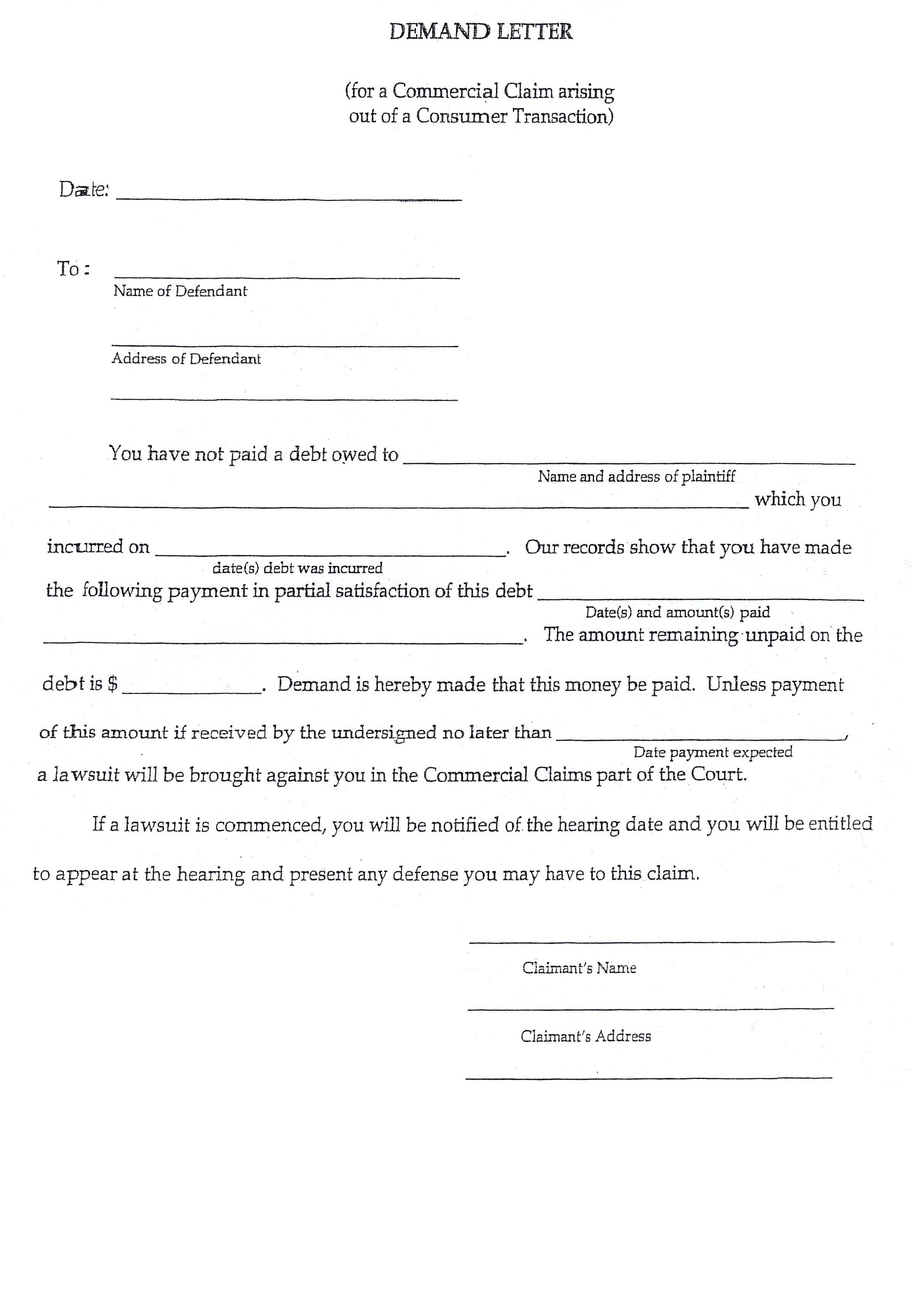 Small Claims Court Letter Of Demand Template Samples | Letter