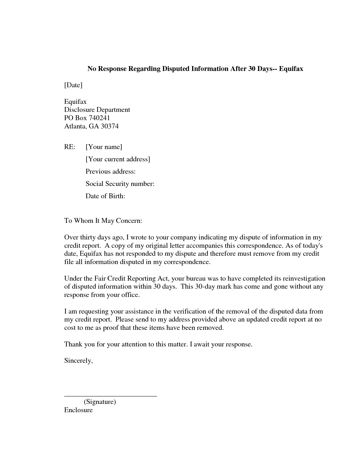 609 Dispute Letter to Credit Bureau Template Collection | Letter