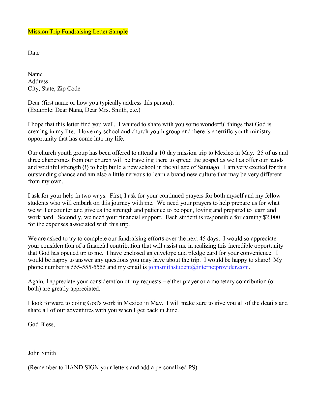 Mission Trip Support Letter Template - How to Write A Mission Trip Support Letter Choice Image Letter