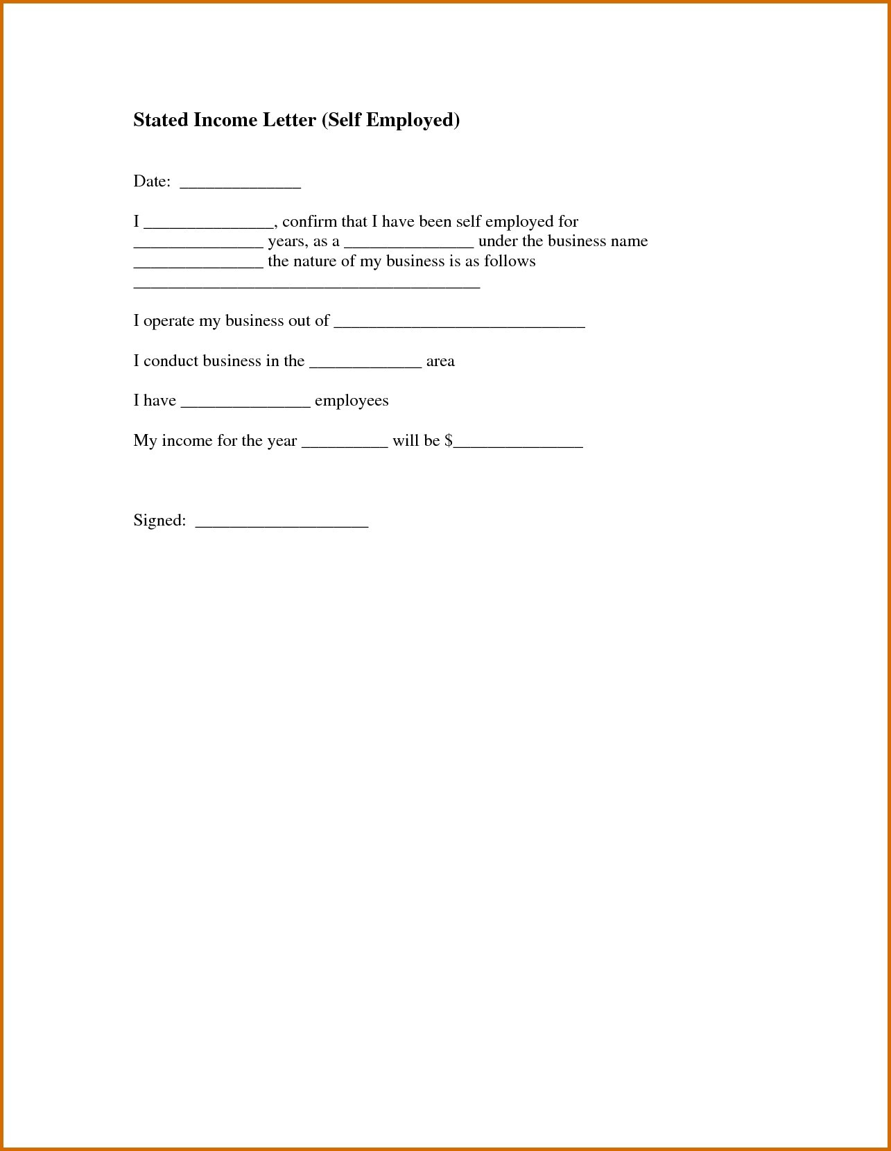 Proof Of No Income Letter Template - How to Write A Self Employment Letter Sample New Sample In E