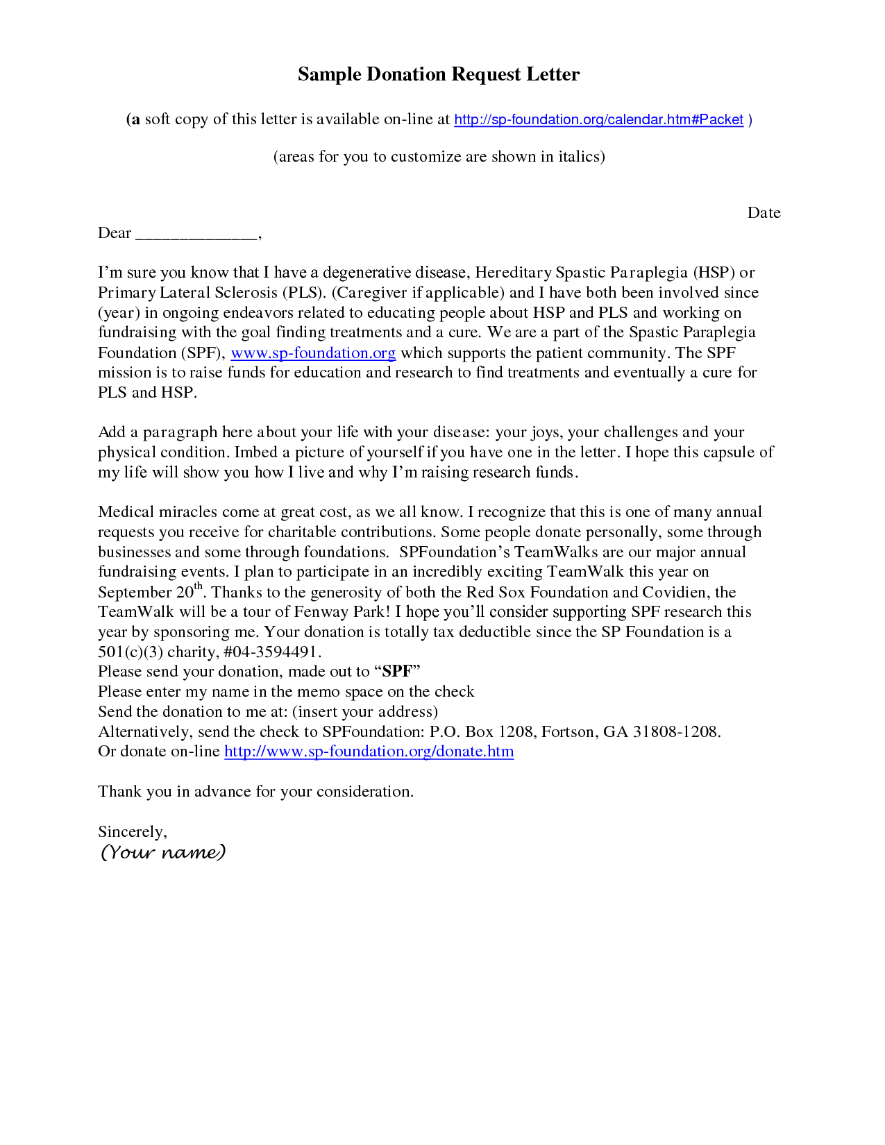 Sample Donation Letter Template - How to Write A solicitation Letter for Donations Choice Image