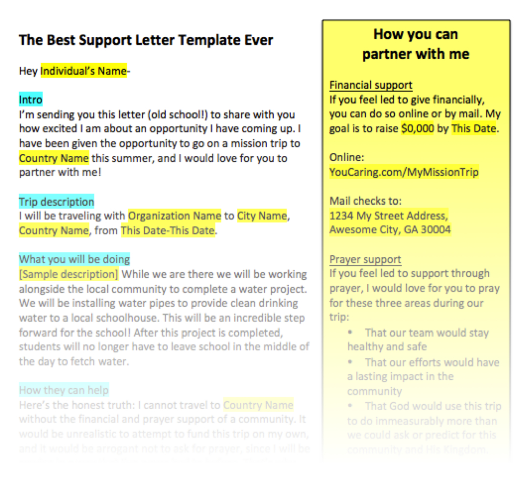 Mission Trip Support Letter Template - How to Write A Support Letter for A Mission Trip Letter