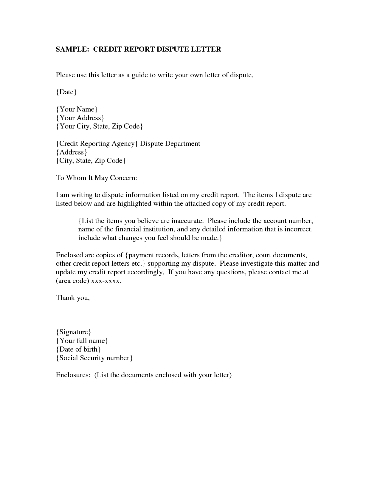 Credit Agency Dispute Letter Template - How to Write Credit Dispute Letter Image Collections Letter format