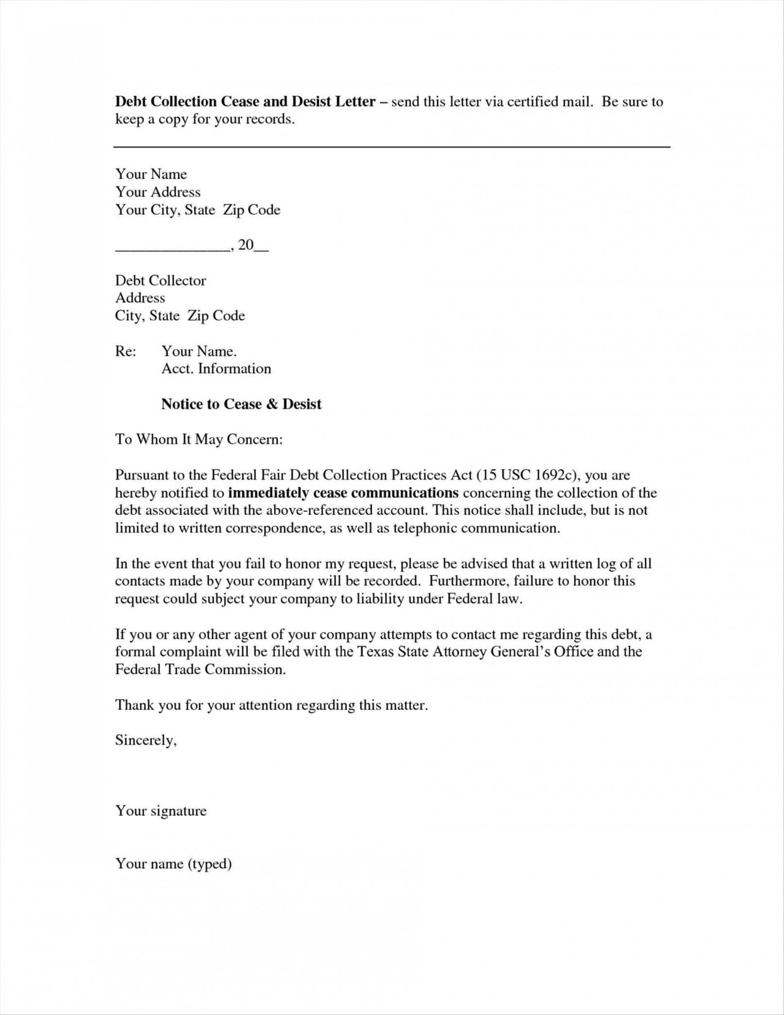 Creditor Cease and Desist Letter Template - How to Write Debt Collection Letter Letter format formal Sample
