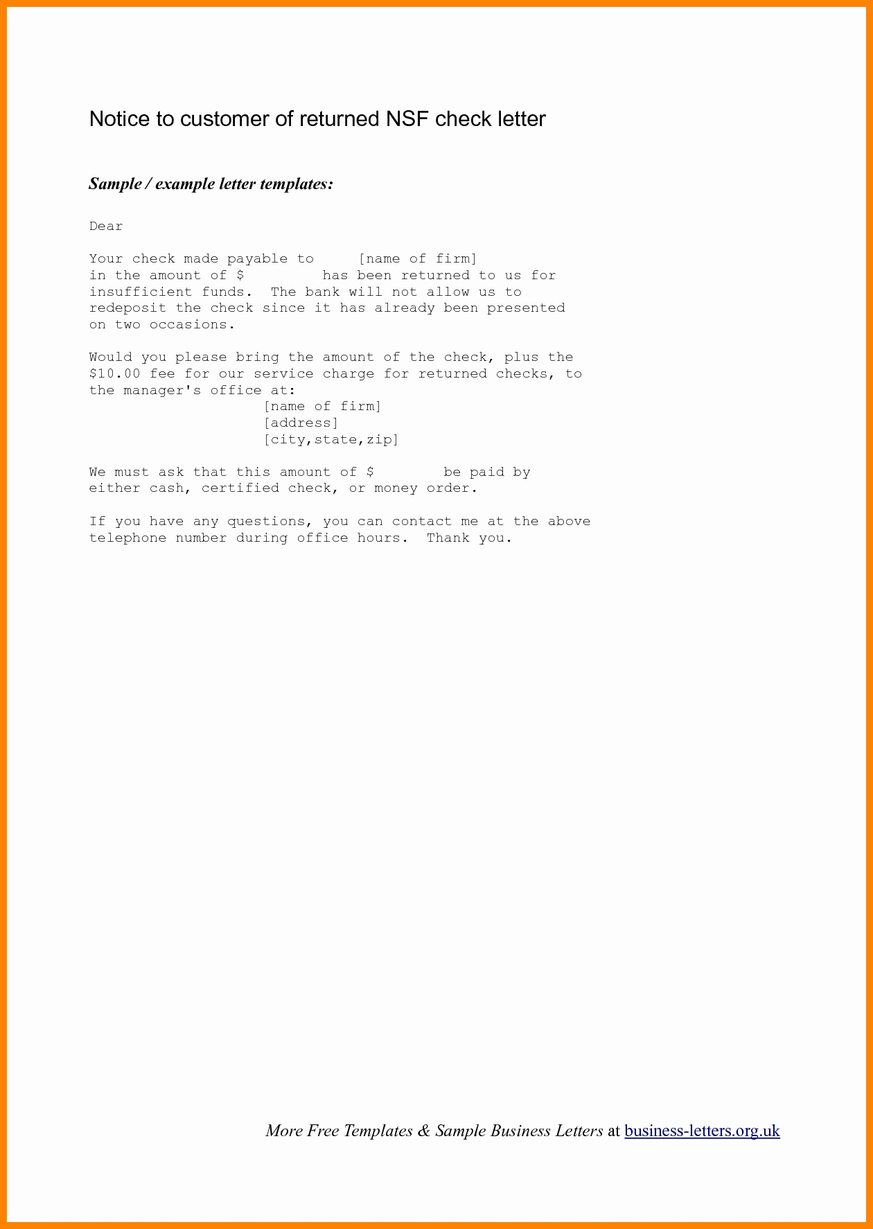 Bounced Check Letter Template - How to Write Letter Demand Letter format formal Sample