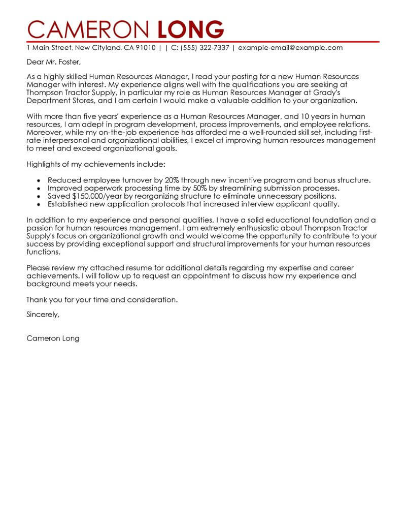 cover letter template for human resources Collection-human resource cover letter template 19-e