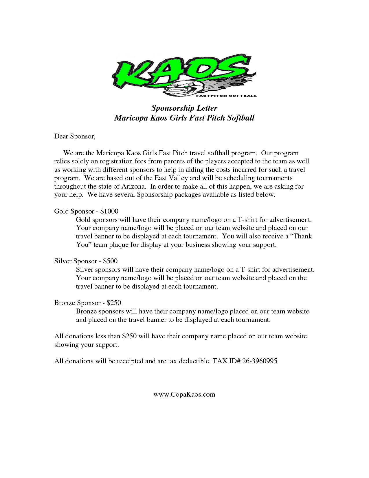 Sponsorship Cover Letter Template - Image Result for Sample Sponsor Request Letter Donation