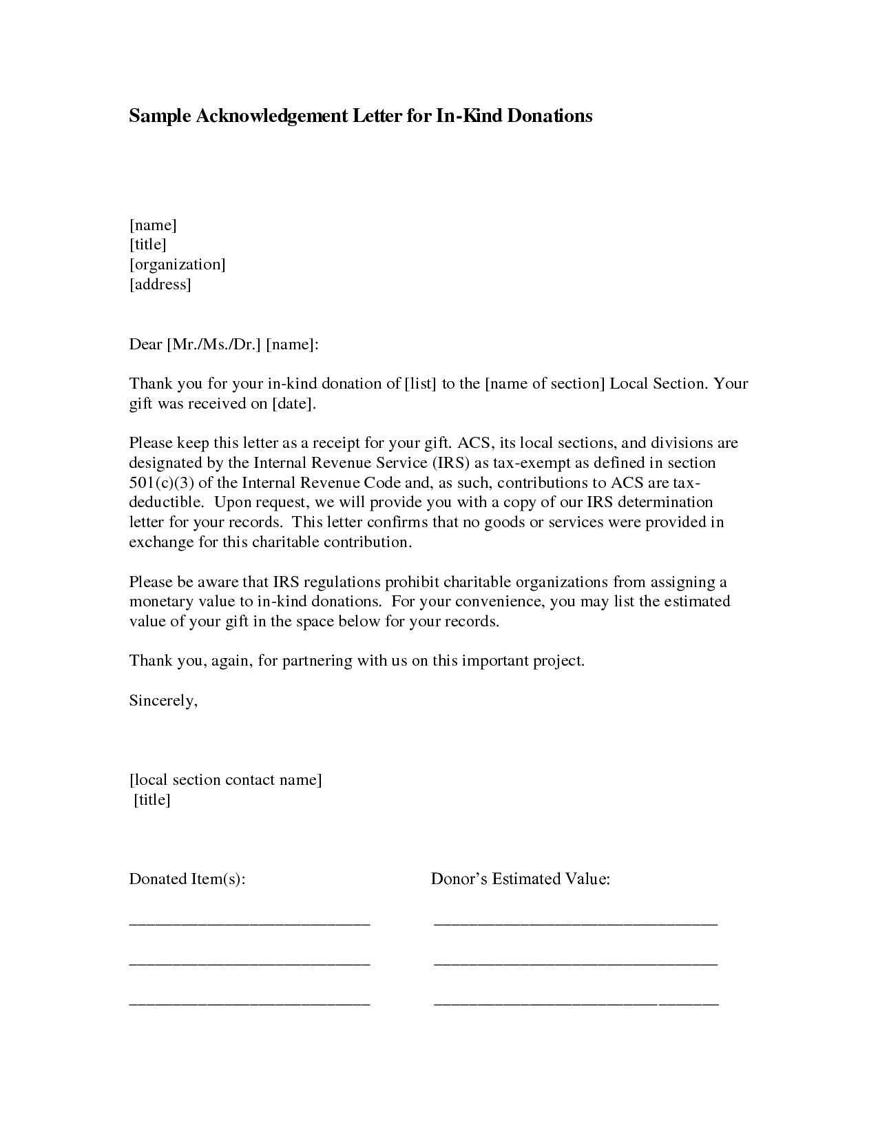 acknowledgement of donation letter template example-In kind donation acknowledgement include photos 9-t