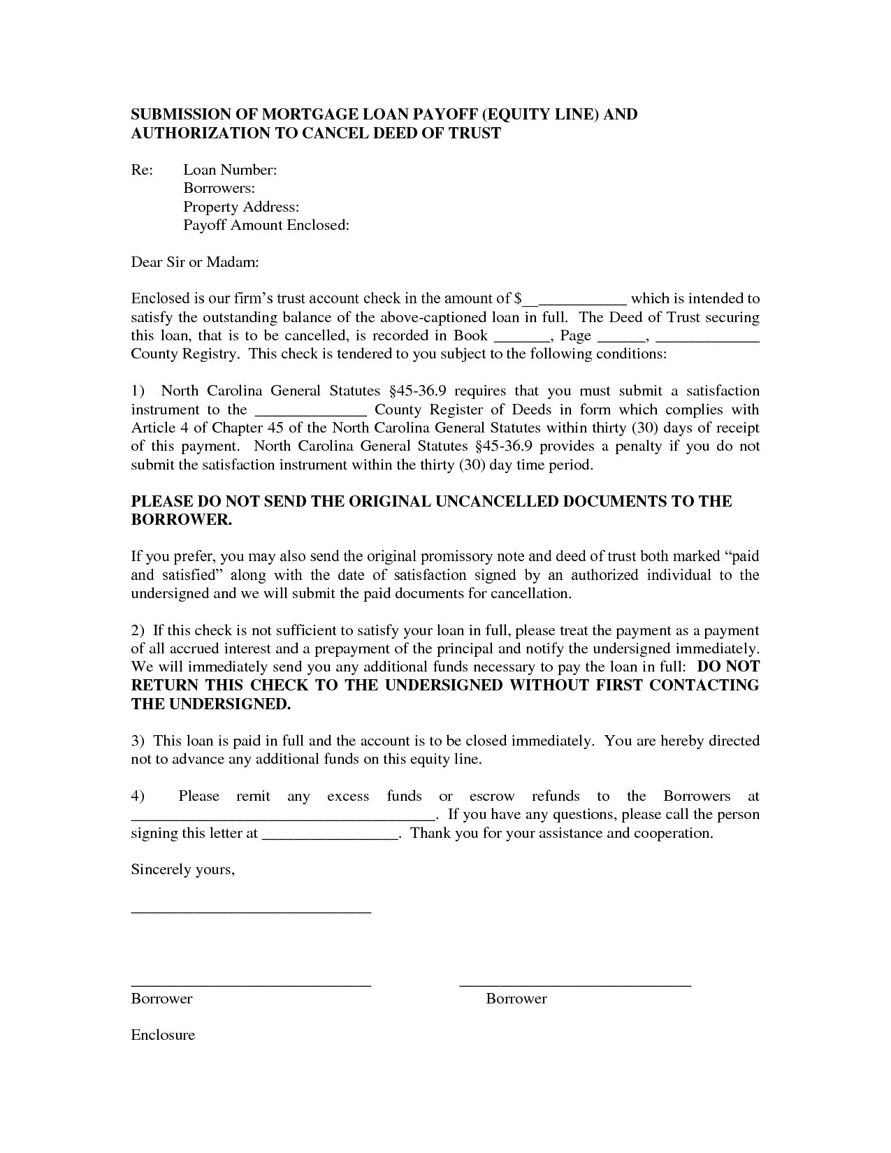 loan payoff letter templates