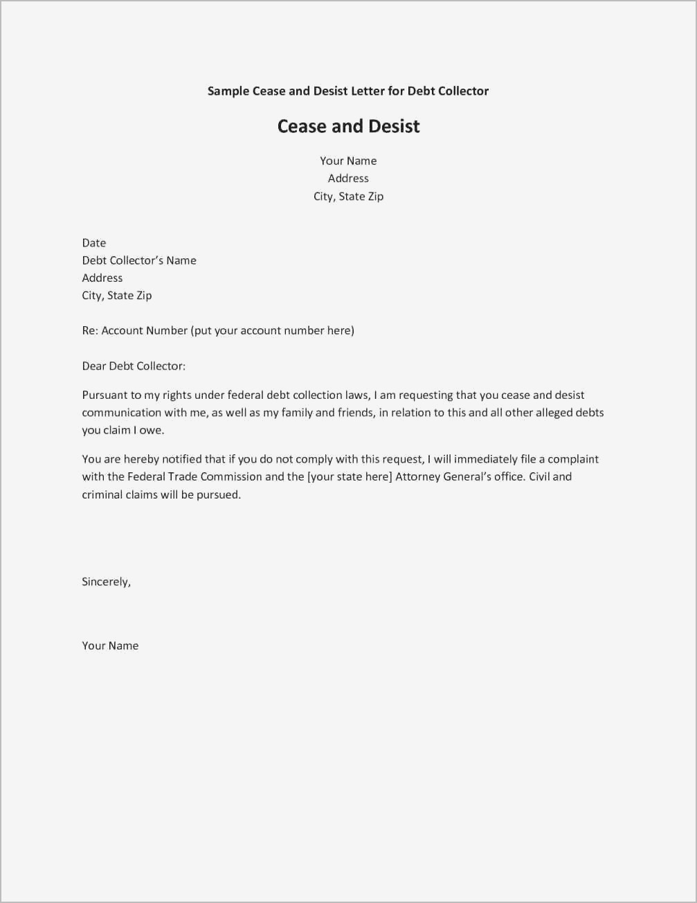 Cease and Desist Letter Harassment Template - Inspirational Cease and Desist Letter Example Your Template