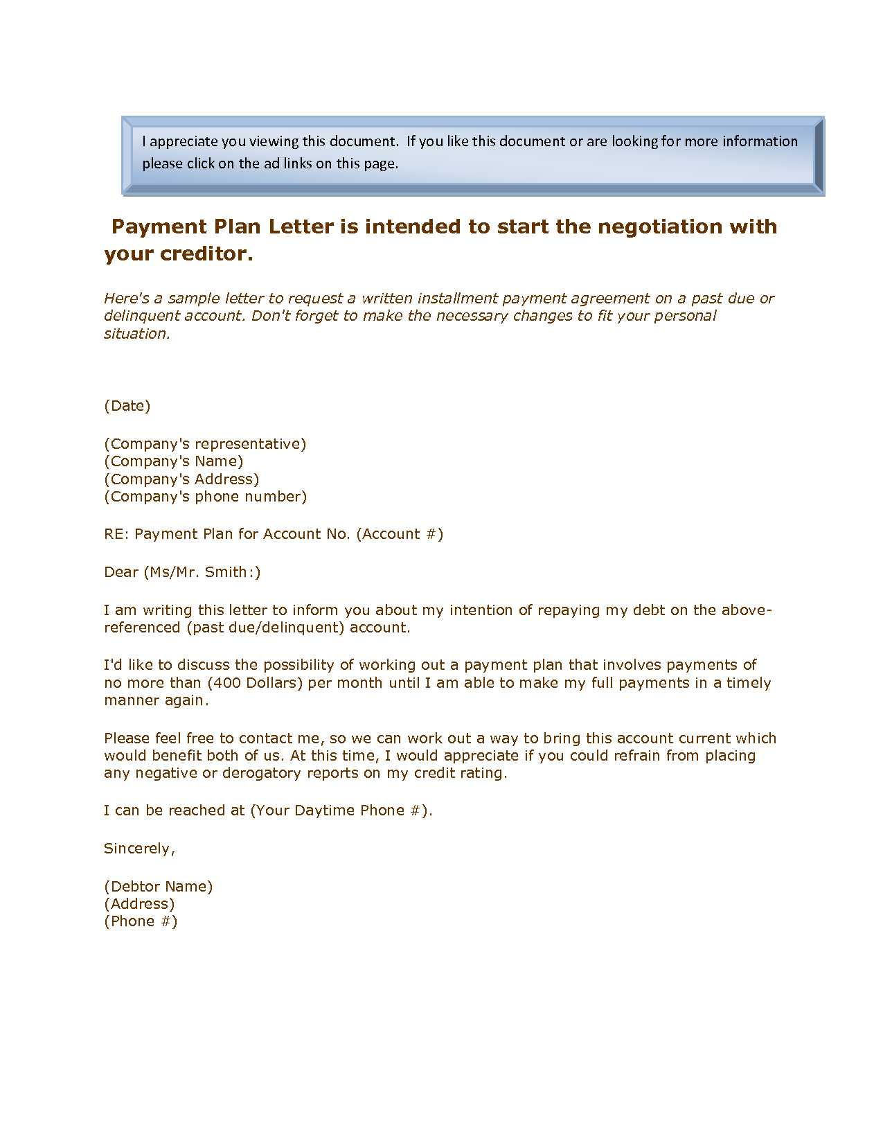 Installment Payment Agreement Letter Template Examples Letter