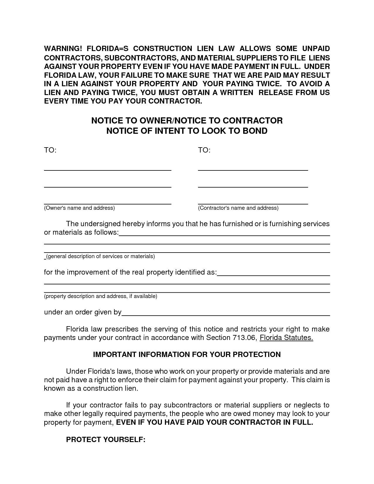 Letter Of Intent to File A Lien Template - Intent to Lien Letter Florida Concept Affidavit