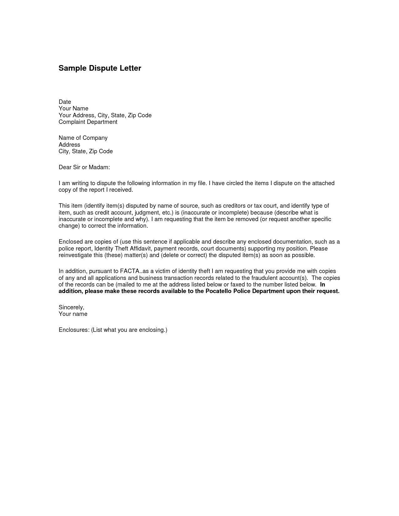 dispute letter template example-19 Best Letter Template Enclosed Documents Graphics 7-q