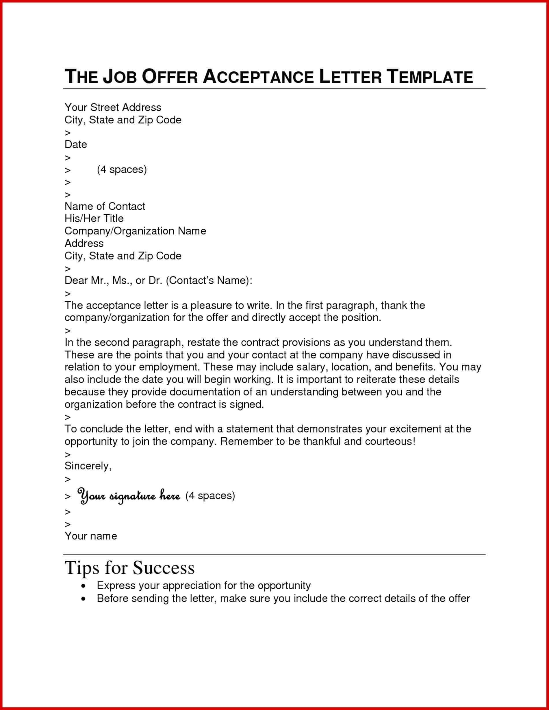 Job Offer Acceptance Letter Template - Job Acceptance Letter Doc Refrence Letter format Sample Doc Best