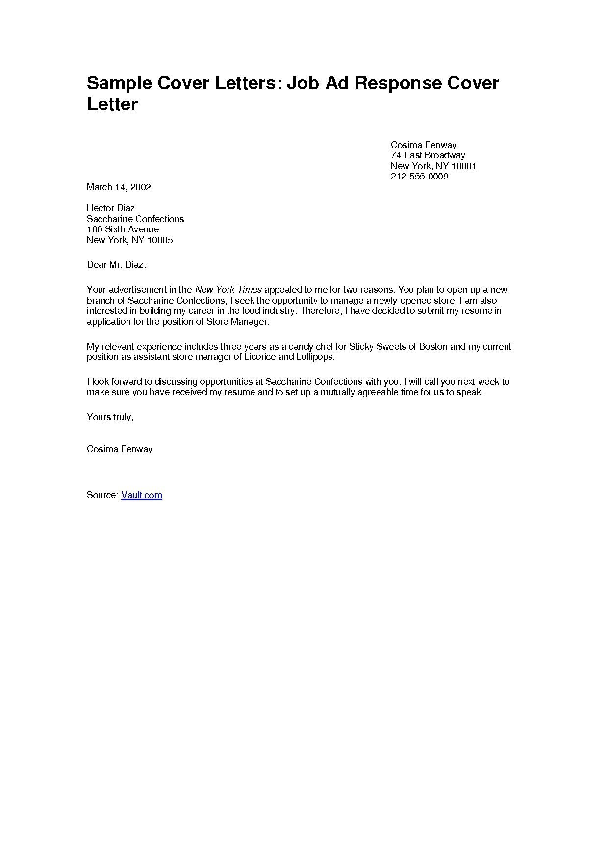 Cover letter sample for job application template samples for Copies of cover letters for employment