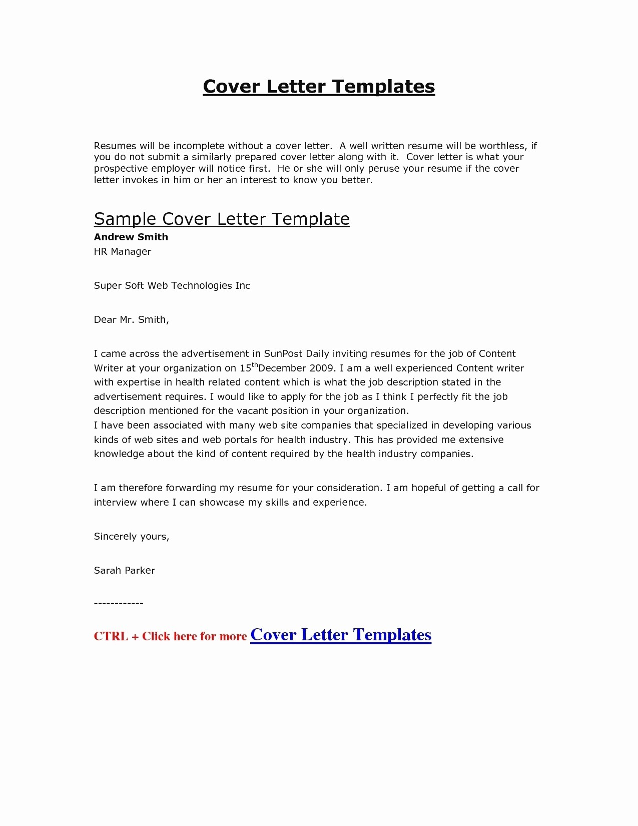 Formal Cover Letter Template