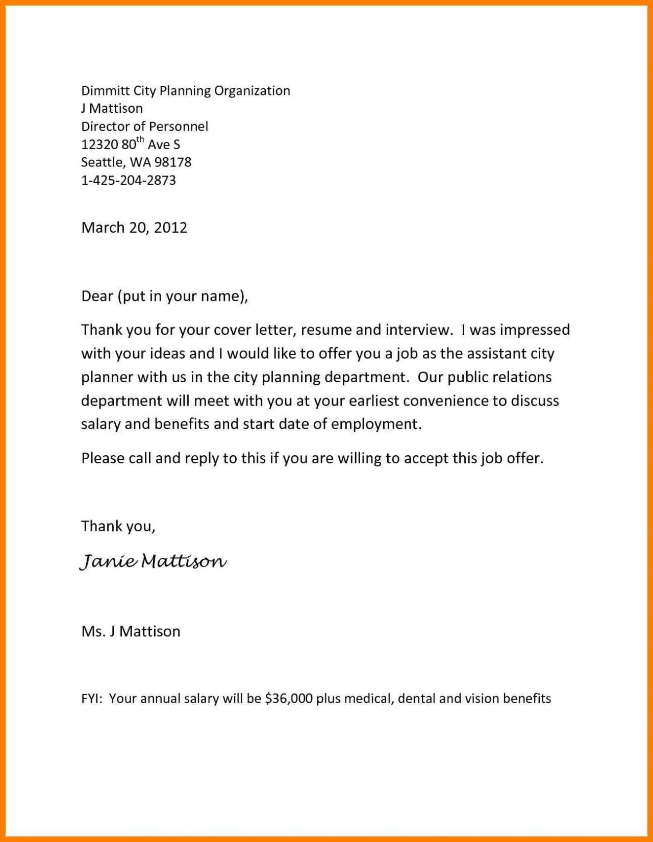 Work Offer Letter Template - Job Fer Letter Template Us Copy Od Consultant Cover Letter Fungram