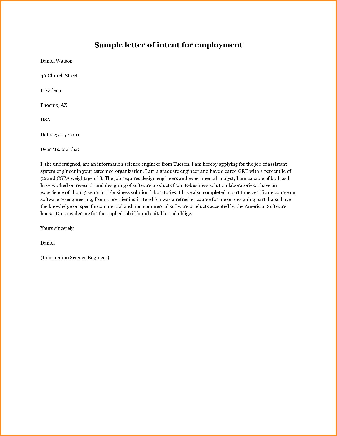 Letter Of Intent to Hire Template - Job Letter Intent Inspirationa Letter Intent Template Job New